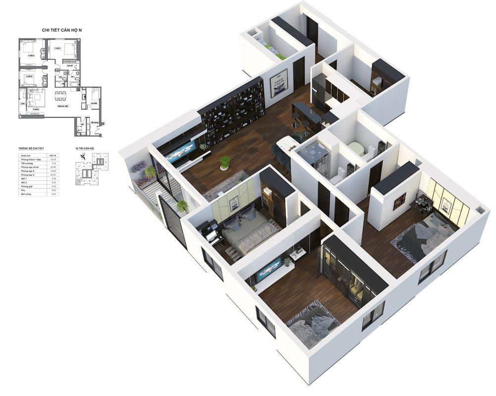 Thiết kế căn N HPC Landmark 105