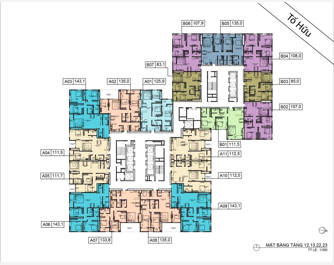 Mặt bằng tòa 35 Bid Residence 104