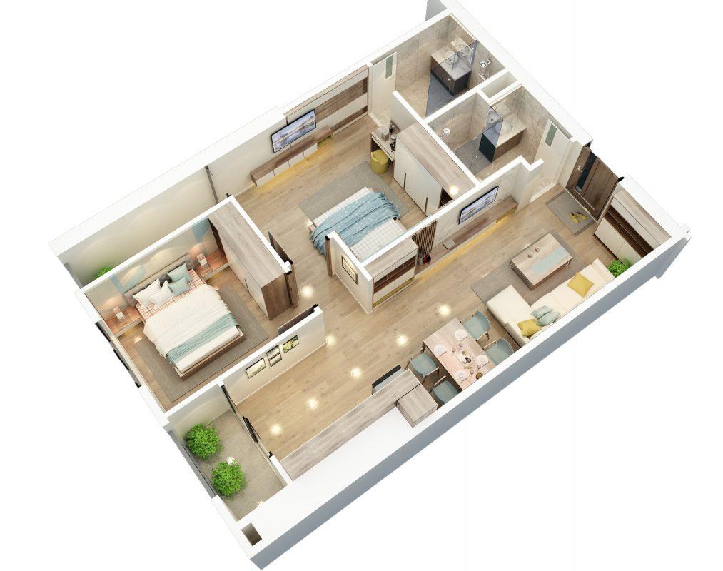 Thiết kế căn hộ 2 ngủ 3 BID Residence 104