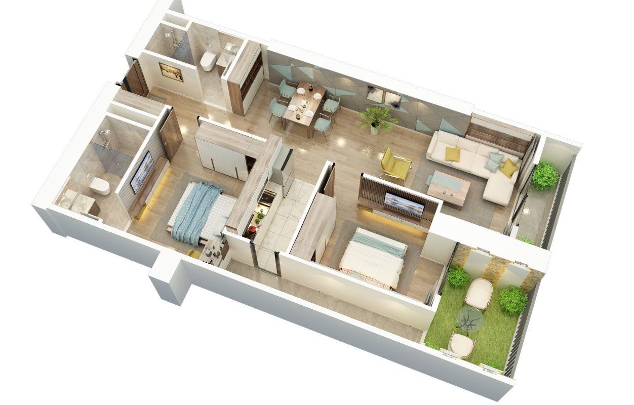 Thiết kế căn hộ 2 ngủ vườn treo BID Residence 104
