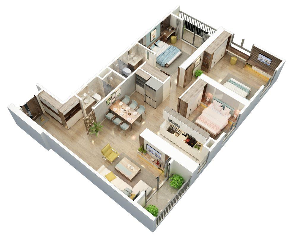 Thiết kế căn hộ 3 ngủ 1 Bid Residence 104