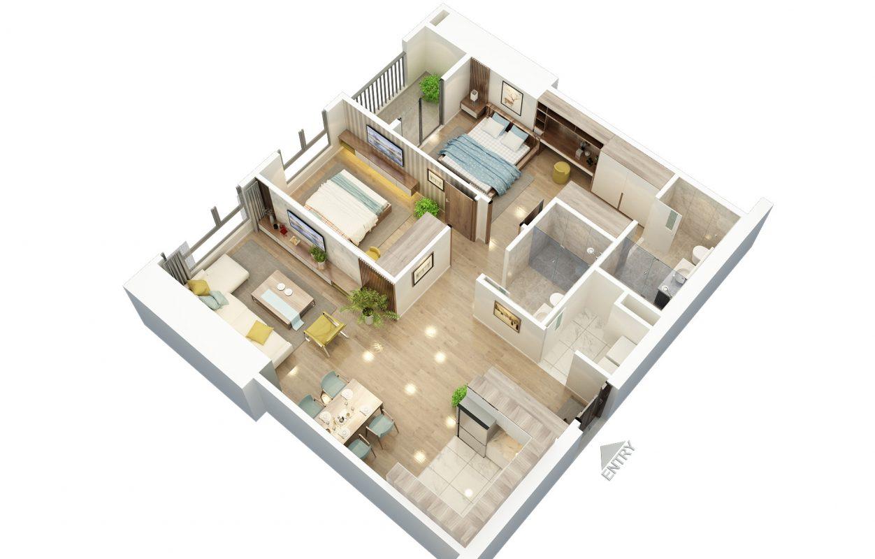 Thiết kế căn hộ 2 ngủ 2 BID Residence 104